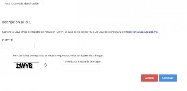 Inscripción a RFC con CURP